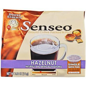 package filled with pods of ground senseo hazelnut coffee